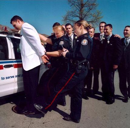 wedding photo: Groom, arrested!