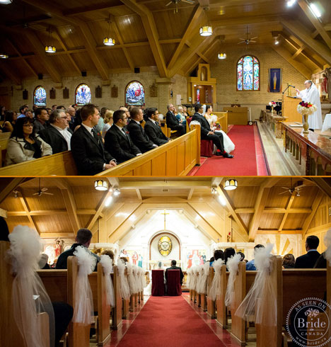 Wedding ceremony in St Mary's Church in Banff Alberta