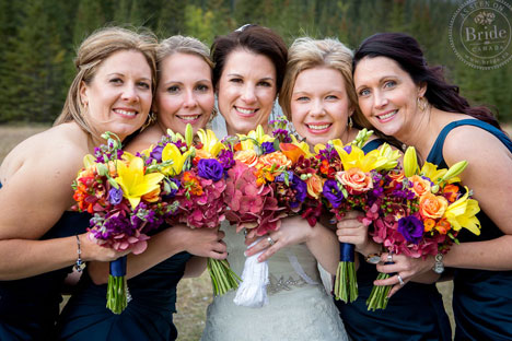 Bride with bridesmaids and gorgeous bridal bouquets