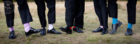 Whimsical, multicolored groomsmen socks