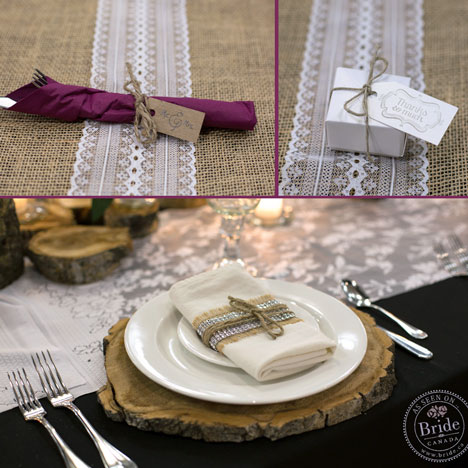 Rustic, burlap-themed table-settings & wedding favours