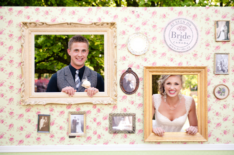 Outdoor wedding photobooth backdrop and props