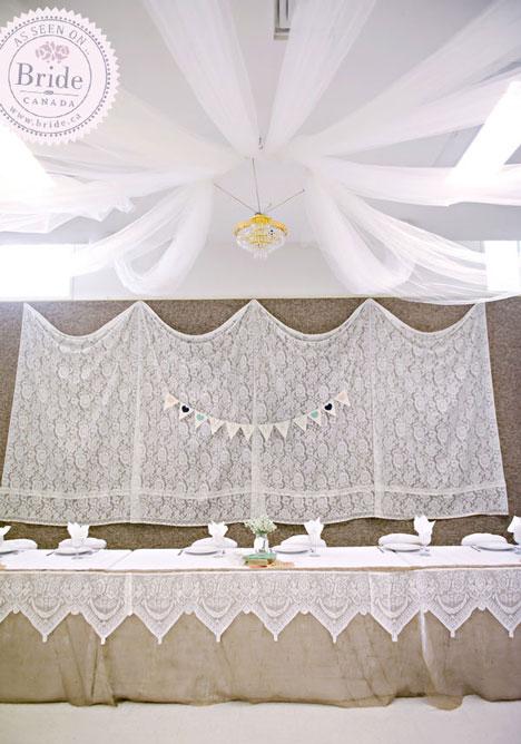 Rustic, burlap, wedding head table