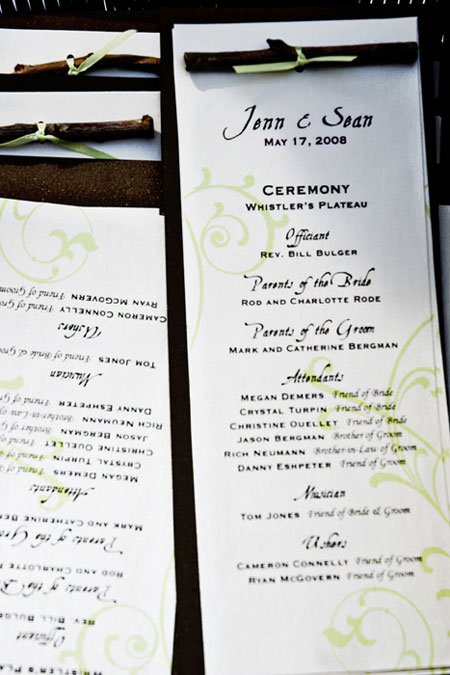 DIY handmade wedding ceremony programs