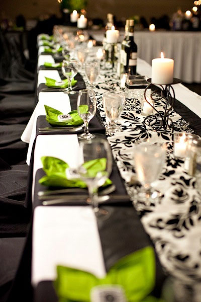 Wedding Decor: colot-coordinated, themed table runners and linens