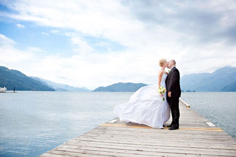 Wedding Couple: Martine & Brett, on the dock, at Harrison Lake