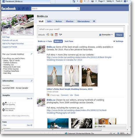 Bride.ca's Facebook Page