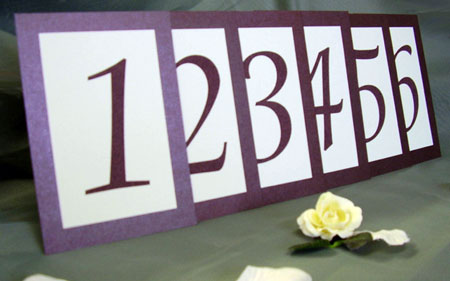 Simple table numbers, for wedding reception