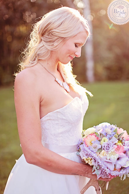 Spring wedding look in a Jim Hjelm wedding dress. Bridal photoshoot by Edmonton wedding planner Stacey Foley; as seen on Bride.Canada