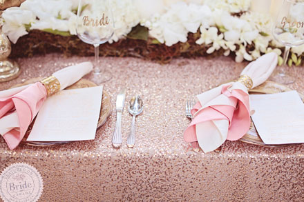 Gorgeous blush/peach table settings. Wedding photoshoot by Edmonton wedding planner Stacey Foley; as seen on Bride.Canada