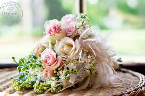Pink and peach roses bridal bouquet