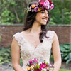 The vibrant choice of color by CJH designs makes the floral crown and bouquet stand out beautifully