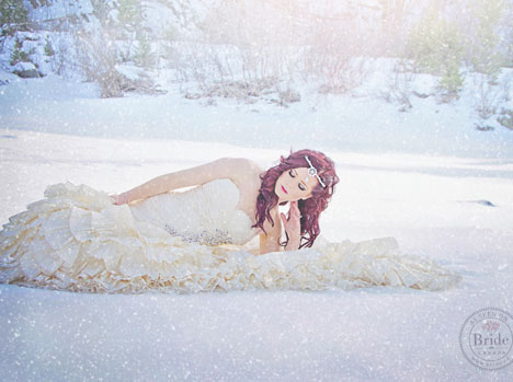 Winter snow princess bride