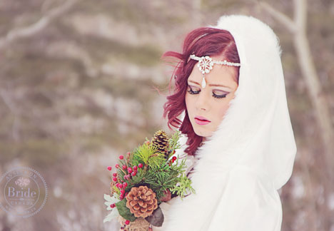 Gogeous winter bride hair and makeup