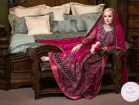 canadian pakistani bride red and silver lehenga and dupatta