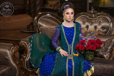pakistan bridal fashion in Canada blue and gold lehenga and green dupatta