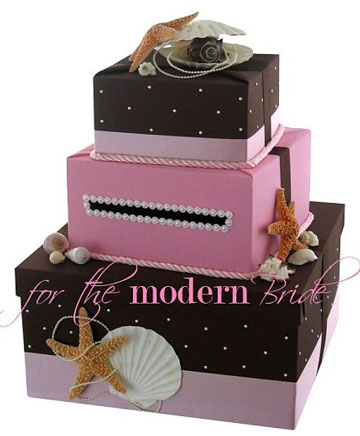 Multi-tiered, pink money box for wedding