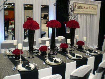 Black and white wedding reception decor