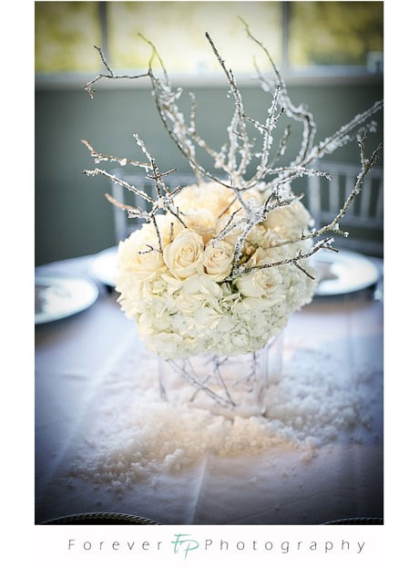 Winter Wedding: Silver &amp; White floral centerpiece