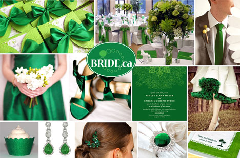 Emerald Green wedding theme for 2013 colour board / styleboard