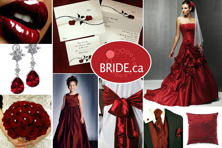 Deep red wedding colors for a Fall wedding