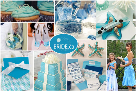 OCean (baby, sky) blue wedding colour theme board