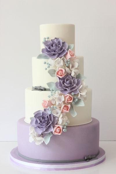 spring-themed, wedding cake