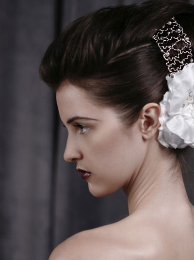 Bride with bow hair accessory