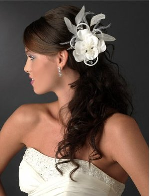 Combination feather & flower bridal hair pin