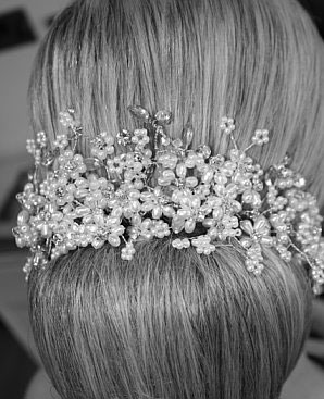 Bridal hair: Bun with crystal Vine