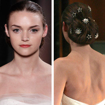 Bridal updo with star-shaped hair pins