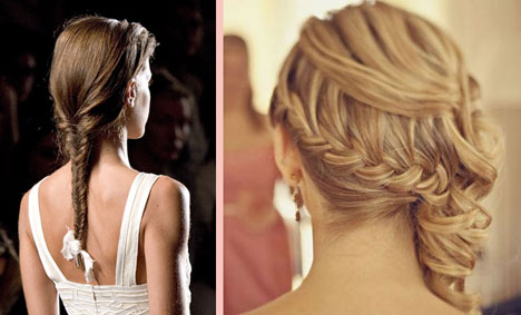 Wrap-around french braid & single fishtail braid for brides + wedding hairstyles