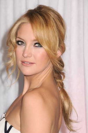 Low-braided wedding hairstyle idea