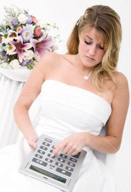 Bride on a budget, using calculator
