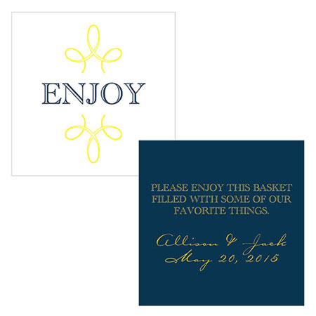 Blue & Gold wedding stationary - thank you card, Canada