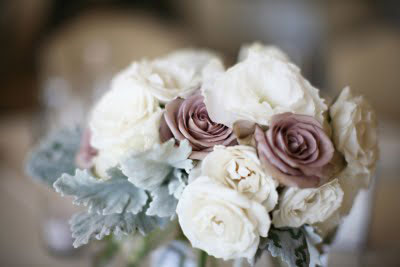 Winter wedding colors : pink, green & pewter bridal flowers