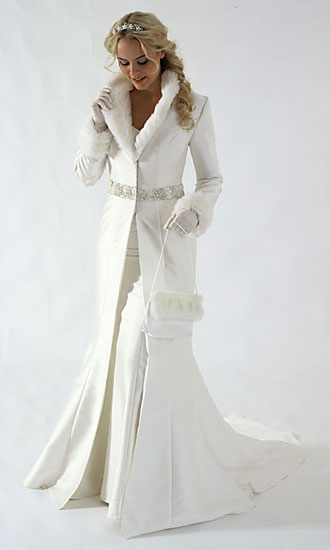 Long, white, winter bridal wrap & coat