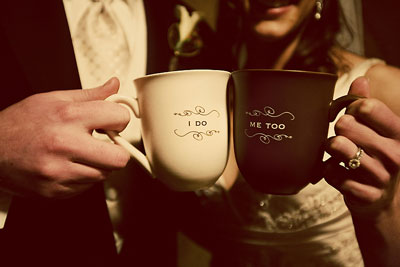 His & hers hot chocolate wedding toasting mugs