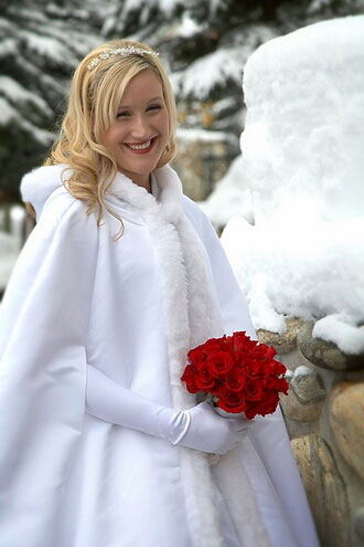 White winter wedding bride, snow, fur