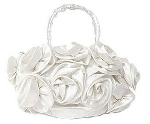 Flower bridal bag with beaded handle