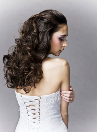 Long and curly bridal hair style by Beauty-A-Go-Go, in Vancouver