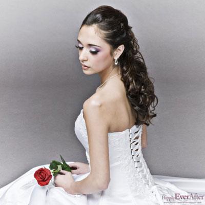 Half-Up bridal hairstyle by Beauty-a-Go-Go in Vancouver