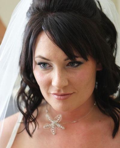Half-Up bridal hairstyle by Calgary's Makeup by Jackie