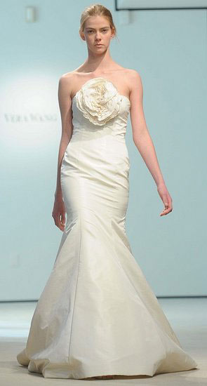 bridal gown with fabric flower embellishment