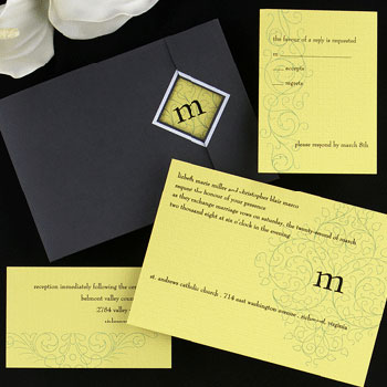 Contemporary wedding invitation by Creative Expressions in Montreal
