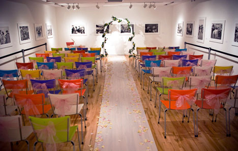 wedding ceremony in an art gallery