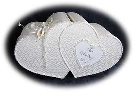 double-heart wedding money box